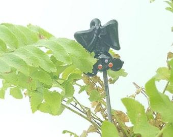 Bat ornament, Hanging bat pin, lampworked glass, garden ornament, small bat decoration, fairy garden, hair stake,