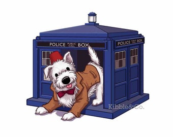 Doctor Who Prints, Eleventh Doctor, Westie Art, Westie Dog, Doctor Who Art, Tardis Art, Matt Smith, Matt Smith Fez, Doctor Who Illustration