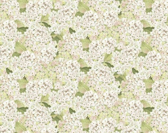 """Floral Fabric: Novelty Vintage style - Packed Hydrangeas Floral Fabric by Rose Divine 100% cotton Fabric by the Yard 36""""x44"""" (SC186)"""