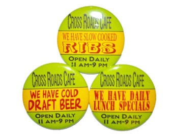 Restaurant advertising bar advertising cafe advertising waitress wait staff restaurant specials bar specials menu specials 2 1/4 in buttons
