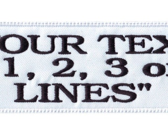 """Large Rectangular White 5"""" to 9"""" inches Custom Embroidered Name Tag Patch"""