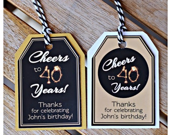 40TH BIRTHDAY FAVOR Tags Cheers to 40 Years Milestone Party