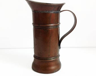 vintage french copper pitcher, antique copper jug, french country house, rustic copper