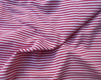 100% Combed Cotton Jersey - White with thin Pink Stripe