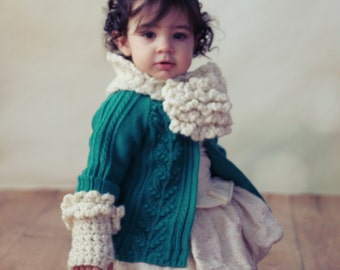 CROCHET PATTERN Toddler & Girls Keyhole Scarf and Fingerless Gloves Set The DAHLIA  From the Danica Collection 2 sizes,