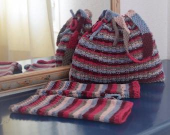 Knitting Pattern for a handbag, Self-striping double knitting yarn, Knitting Pattern for fingerless gloves, Wrist warmers, Digital download