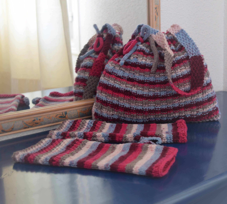 Knitting Pattern for a handbag, Self-striping double knitting yarn ...