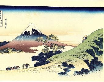 "Japanese Ukiyo-e Woodblock print, Hokusai, ""Inume Pass, Kōshū, from the series Thirty-six Views of Mount Fuji"""