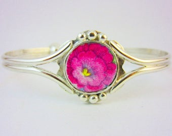 Pink Camellia Silver Bracelet - Broken China Jewelry; Vintage Unique Birthday Gift: Sister Bride Bridesmaid Mother Valentines Day