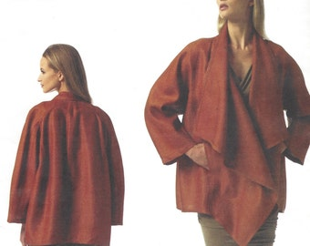 Donna Karan Womens Unlined Jacket Asymmetrical Closing OOP Vogue Sewing Pattern V1346 Size 4 6 8 10 12 14 Bust 29 1/2 to 36 UnCut