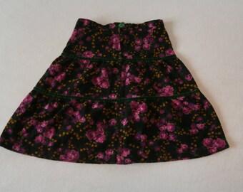 70's Girls Fleece Skirt with Roses