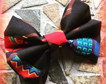 Black and Red Multicolored Tribal Print African Lady Hairbow Set