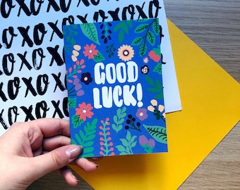 Colourful Floral Good Luck Card / New Job / Good Luck / Sorry You're Leaving / New Adventure / All The Best / Exams / Travel /
