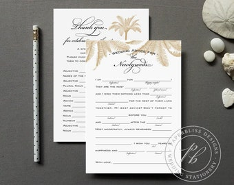 Beach Wedding Mad Lib Printable, Palm Tree Wedding Guest Book, Beach Wedding Advice Cards, Unique Beach Guestbook Alternative idea, madlib