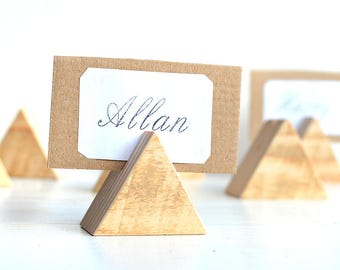 Set of 25 wood table number holder, Rustic wedding decor, Wooden guest card table holders, Woodland wedding stands, Wood place card holders
