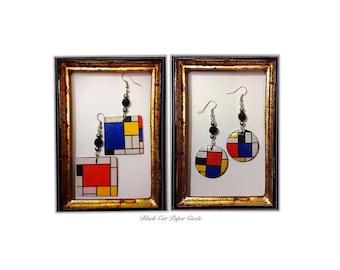 MONDRIAN earrings and hand-made handmade keychains in wood art decoupage