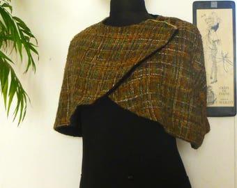 Cape woman short capelet lainag Green Khaki brown black gold lurex - lace - fall - cape