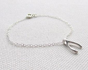 Silver Wishbone Bracelet Dainty Lucky Charm Delicate Bracelet Choose Silver Plate or Sterling Silver Chain Minimalist