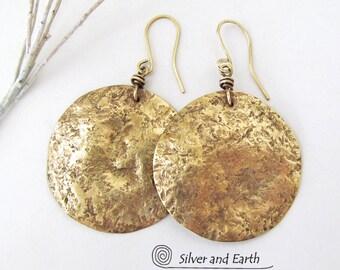 Big Brass Earrings, Large Hammered Earrings, Gold Moon Earrings, Earthy Organic Modern Jewelry, Gold Dangle Earrings, Handmade Metal Jewelry