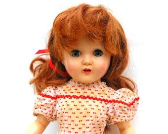 1940s Horsman Composition Doll Antique Redhead Collectible Toy Flirty Sleepy Blue Eyes, Felt Tongue, Teeth, and Red Polka Dot Prairie Dress