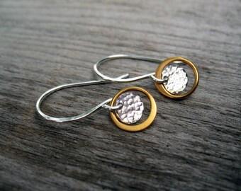 Delicate Earrings, Mixed Metal Earrings, Minimalist, Gift for Women, Everyday Earrings, Dainty Earrings, Sterling Silver, Gift for Her, Gold