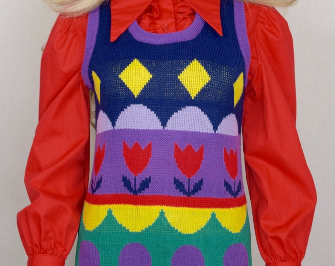 Vintage 1970's Women's Zado Striped PoP ArT Tulip RAINBOW Knit HiPPiE MOD Sweater Vest Size M