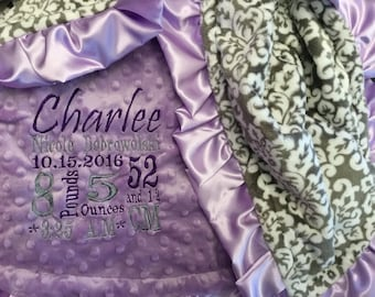 Personalized Custom Embroidered Minky Blanket