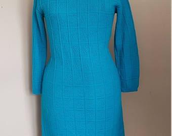 Vintage 1960's Teal Sweater Dress Figure Flattering Retro Bombshell Pin Up Wiggle Mad Men Sweater Dress