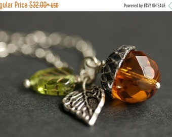 MOTHERS DAY SALE Acorn Necklace. Amber Acorn & Green Leaf Necklace. Crystal Acorn Pendant. Orange Acorn Charm Necklace. Silver Acorn Jewelry