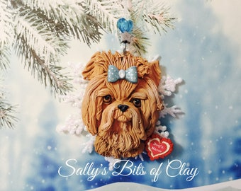 Yorkie Yorkshire Terrier dog Santa Christmas Snowflake Ornament READY to SHIP Sculpture by Sally's Bits of Clay PERSONALIZED with dog's name