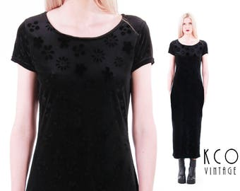 "90s Grunge Dress Black Velvet Maxi Dress 90s Clothing Goth Embossed Crushed Velvet Bodycon Vintage Dress Clothing Women's Size SMALL 35""Bust"