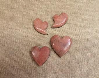50% OFF Pink Alabaster Heart Cabochon Quartet/ backed