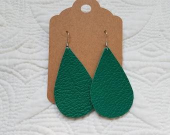 Genuine Leather Teardrop Earrings in Emerald
