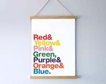 Rainbow Print, Nursery Rhyme, Typography Wall Art, Digital File Download