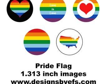 "1.313"" Round Pride Collage Sheet Instant Download LGBTQ, Gay Pride, Pride March, Tolerance, Awareness"