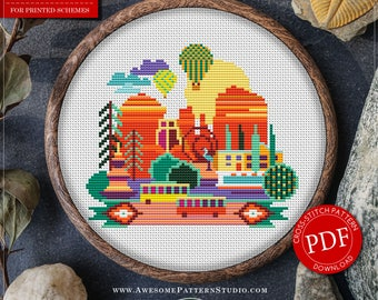 Modern Cross Stitch Pattern of Sedona for Instant Download *P081 |Easy Cross Stitch|Counted Cross Stitch|Embroidery Design|City Cross Stitch