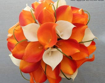 Orange/deep/burnt, ivory, yellow/gold, bouquet, Real Touch flowers, silk, calla lily/lilies, Fall, Autumn, wedding
