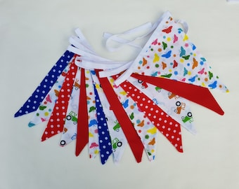 Fabric Bunting - 3 m/10 ft  with 14 flags - Red Royal Blue White Tractors Butterfly Cotton Nursery Decor Baby Garland Banner Novelty Bunting