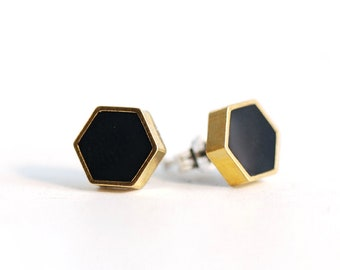Geometric Black and Gold Hexagon stud earrings