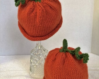 Hand Knitted Baby Hat, Orange Knitted Baby Hat, Pumpkin Hat, Photo Prop Baby Hat, Fall Baby Hat