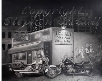 "Giclee fine art print of original pencil drawing ""Night Out at Wendy's"" by Stephen McCall, motorcycle drawings, bike drawings, motorbike"