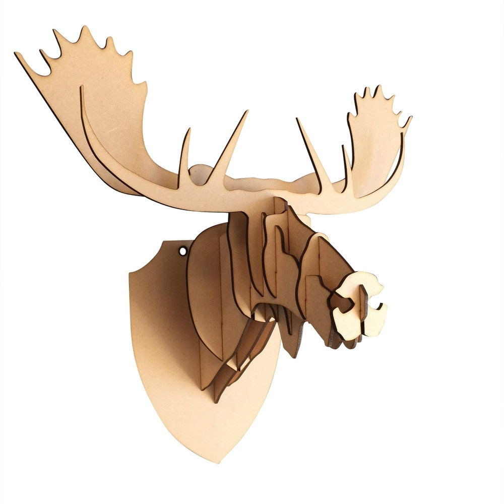 Large/ Small Wooden Moose Head 3D Wall Art Home Decor 3D
