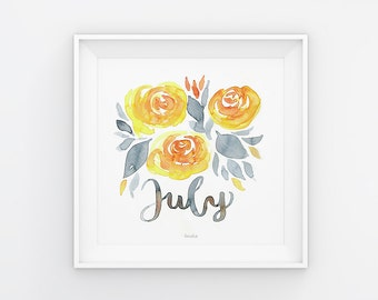 July lettering with watercolor flowers, download, print template, printable, 21 x 21 cm, calendar, square, painting, seasonal