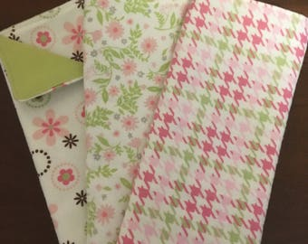 Burp Cloths / baby gift/ pink/ green /baby/flowers/ girl/flannel