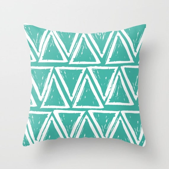OUTDOOR Throw Pillow . Turquoise Outdoor Pillow . Turquoise patio cushion . Modern Geometric Pillow Triangle . 16 18 20 inch . Lumbar Pillow