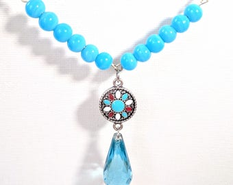 Starry Nights • Blue Glass Beads with Aztecan Turquoise Pendant Beaded Necklace