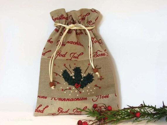 santa sack leinen geschenk tasche heilige weihnachten. Black Bedroom Furniture Sets. Home Design Ideas