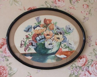 Pretty Floral 1930's Watercolour Painting
