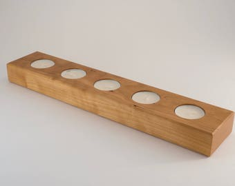 Cherry Wood Candle Holder