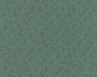 40% OFF SALE - PRINTS Charming Geometric Boxes in Teal  17846-14 - Moda Fabrics  - By the Yard